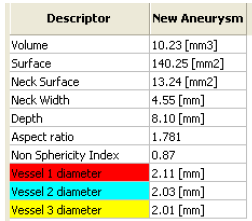 Figure 13. Example of a table containing a morphological measures three arteries near aneurysm.