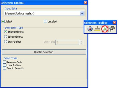 Surface Selector GUI and Toolbar direct access